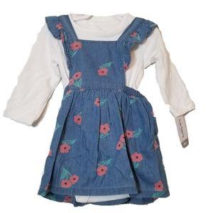 Carter's Girl Blue Dress & Long Sleeve Underonsie